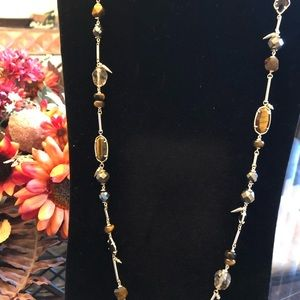 Kendra Scott Ruth Long Necklace brown mix stones